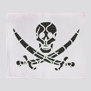Black Retro Waves Calico Jack Skull Throw Blanket
