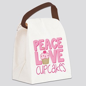 Peace Love Cupcake Canvas Lunch Bag