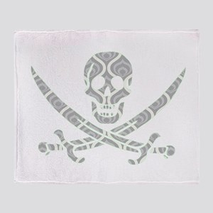 Grey Retro Waves Calico Jack Skull Throw Blanket