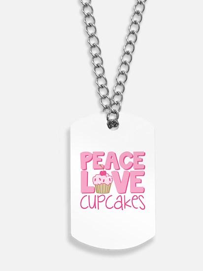 Peace Love Cupcake Dog Tags