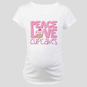 Peace Love Cupcake Maternity T-Shirt