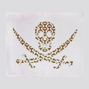 Brown Retro Wave Calico Jack Skull Throw Blanket