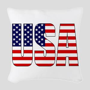 USA Flag Woven Throw Pillow