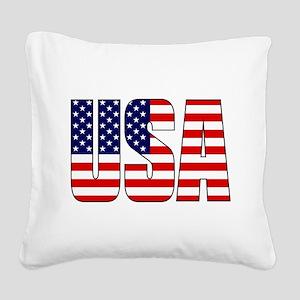 USA Flag Square Canvas Pillow