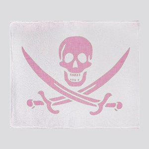 Pink Linen Calico Jack Skull Throw Blanket