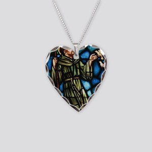 Saint Francis of Assisi Necklace Heart Charm