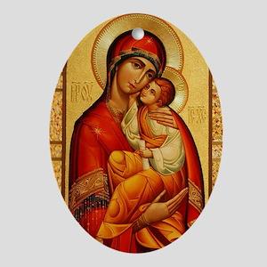 Mary The God Bearer Oval Ornament