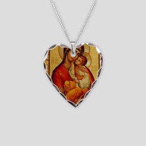Mary The God Bearer Necklace Heart Charm