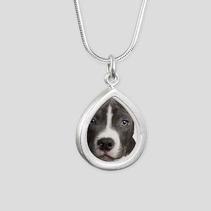 Pitbull Lovers Silver Teardrop Necklace