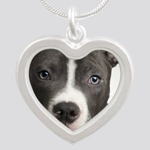 Pitbull Lovers Silver Heart Necklace