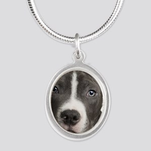 Pitbull Lovers Silver Oval Necklace