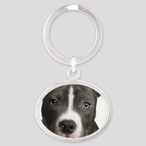 Pitbull Lovers Oval Keychain