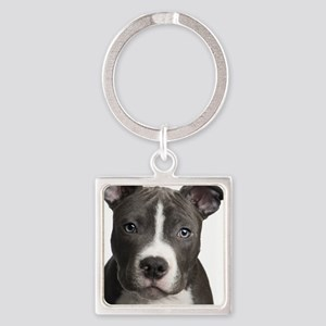 Pitbull Lovers Square Keychain