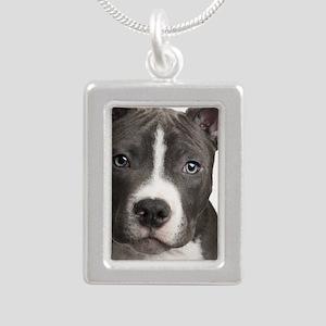Pitbull Lovers Silver Portrait Necklace