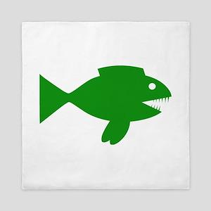 Green Cartoon Fish Queen Duvet