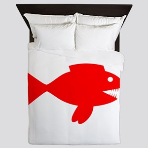 Red Cartoon Fish Queen Duvet