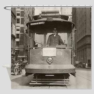 Brooklyn Bridge Trolley, 1915 Shower Curtain