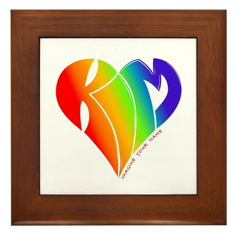 Kim rainbow heart Framed Tile
