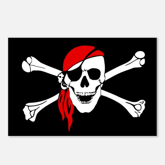 Pirate flag Postcards (Package of 8)