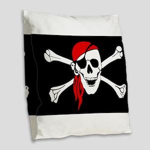 Pirate flag Burlap Throw Pillow
