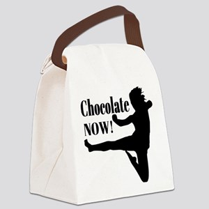 Chocolate Now - Black Silhouette Canvas Lunch Bag
