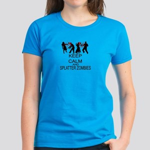 Keep Calm And Splatter Zombies Women's Dark T-Shir
