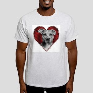 Pit Bull Terrier Valentine Ash Grey T-Shirt