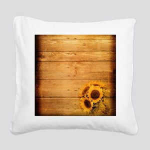 barnwood sunflower western co Square Canvas Pillow