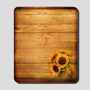 barnwood sunflower western country Mousepad
