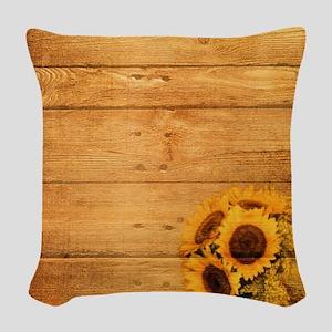 barnwood sunflower western cou Woven Throw Pillow