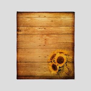 barnwood sunflower western country Throw Blanket