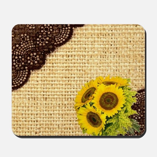 lace burlap sunflower western country Mousepad