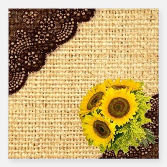"""lace burlap sunflower we Square Car Magnet 3"""" x 3"""""""