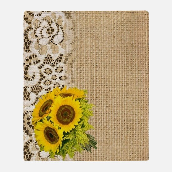 lace burlap sunflower western countr Throw Blanket
