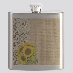 lace burlap sunflower western country Flask