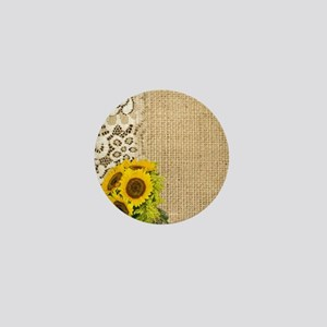 lace burlap sunflower western country Mini Button