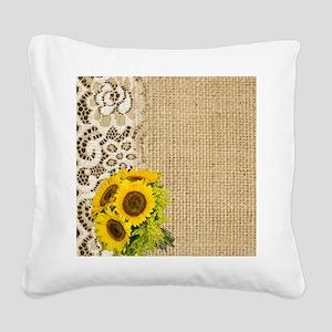 lace burlap sunflower western Square Canvas Pillow