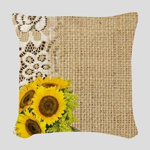lace burlap sunflower western  Woven Throw Pillow