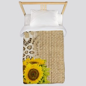 lace burlap sunflower western country Twin Duvet