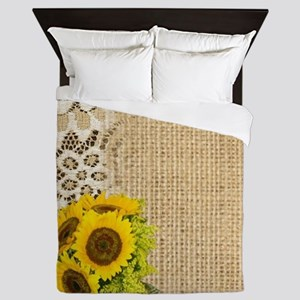 lace burlap sunflower western country Queen Duvet