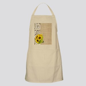 lace burlap sunflower western country Apron