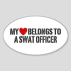 My Heart Belongs to a Swat Officer Sticker (Oval)