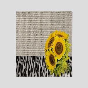 zebra print sunflower burlap Throw Blanket