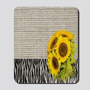 zebra print sunflower burlap Mousepad