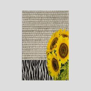 zebra print sunflower burlap Rectangle Magnet