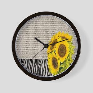 zebra print sunflower burlap Wall Clock