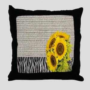zebra print sunflower burlap Throw Pillow