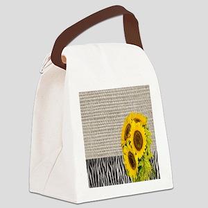 zebra print sunflower burlap Canvas Lunch Bag