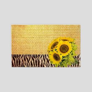 zebra print sunflower burlap 3'x5' Area Rug
