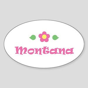 "Pink Daisy - ""Montana"" Oval Sticker"